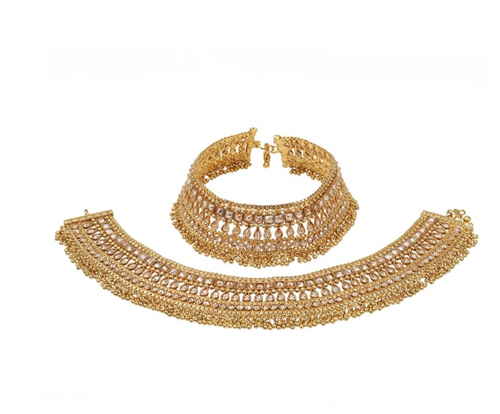 Stones and Beads based Golden Antique Anklet - Kiwibay