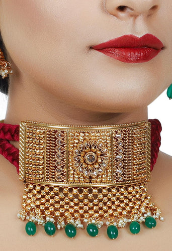 Antique Choker, Jhumka and Maang tikka set - Kiwibay