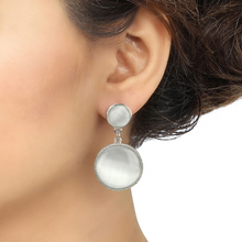 Load image into Gallery viewer, White Rodium Moonstone Fashion Earrings - Kiwibay