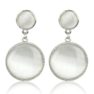 White Rodium Moonstone Fashion Earrings - Kiwibay