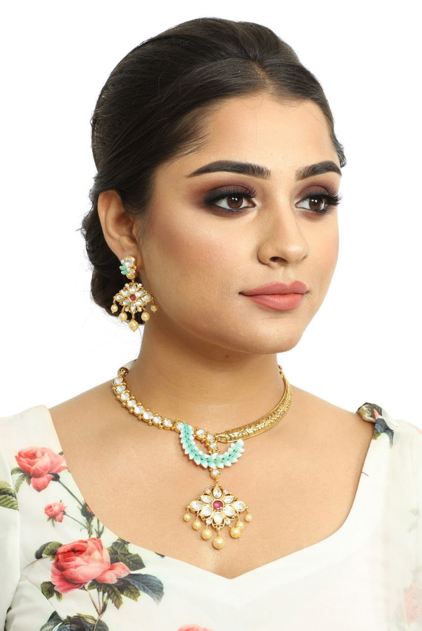 Kundan Necklace Set - Kiwibay