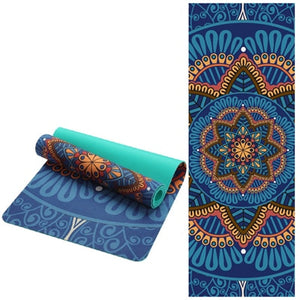 Non-slip Yoga Mat in Suede with Lotus pattern - Kiwibay