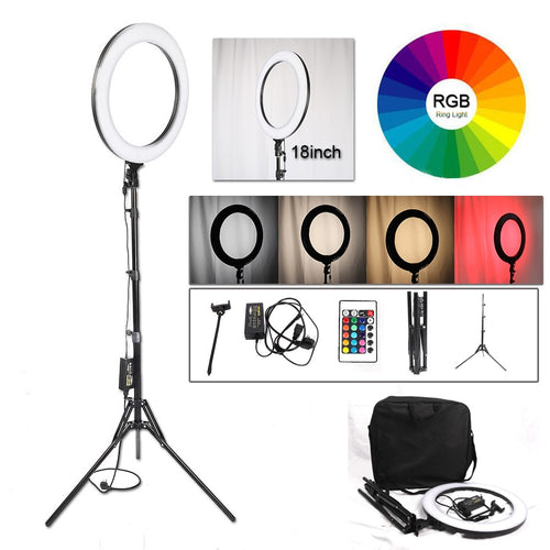 Ring Light With Tripod for Selfies or Make up - Dimmable, multi colour, professional photography - Kiwibay