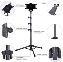 Load image into Gallery viewer, iPad / Tablet Tripod Height Adjustable Floor Stand - Kiwibay