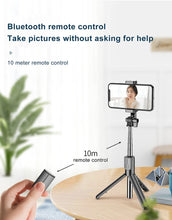 Load image into Gallery viewer, Foldable Selfie Stick with Ring Lights Tripod Stand and Bluetooth Remote - Kiwibay