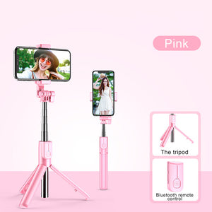 Foldable Selfie Stick with Fill Ring Lights Tripod Stand and Bluetooth Remote - Kiwibay