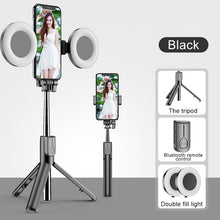 Load image into Gallery viewer, Foldable Selfie Stick with Fill Ring Lights Tripod Stand and Bluetooth Remote - Kiwibay