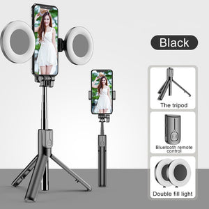 Foldable Selfie Stick with Ring Lights Tripod Stand and Bluetooth Remote - Kiwibay