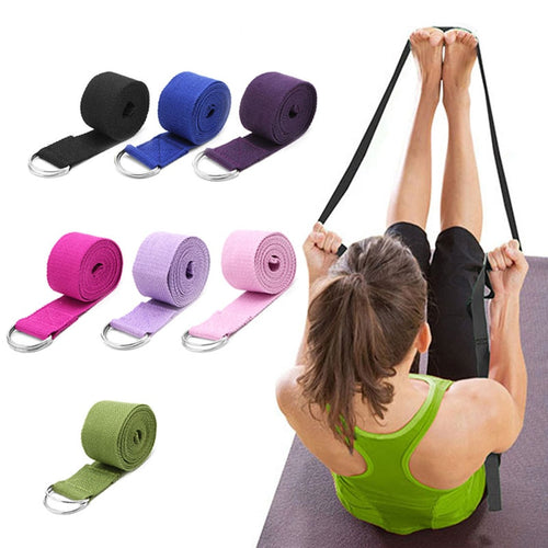 Yoga Stretch Strap D-Ring Fitness Waist Leg Resistance Belt - Kiwibay