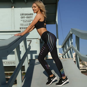 Running Tights | Yoga Leggings | Sport Pants | Gym Leggings - Reflective in Night - Kiwibay