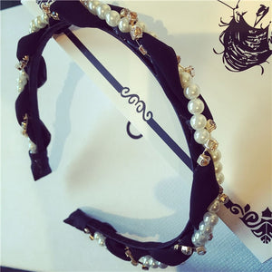 Latest Fashion Pearls Rhinestone Hair Hoop Headband Hairband - Kiwibay