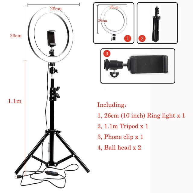 Selfie Ring Light With Tripod Phone Holder Clips - Kiwibay