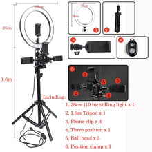 Load image into Gallery viewer, Selfie Ring Light With Tripod Phone Holder Clips - Kiwibay