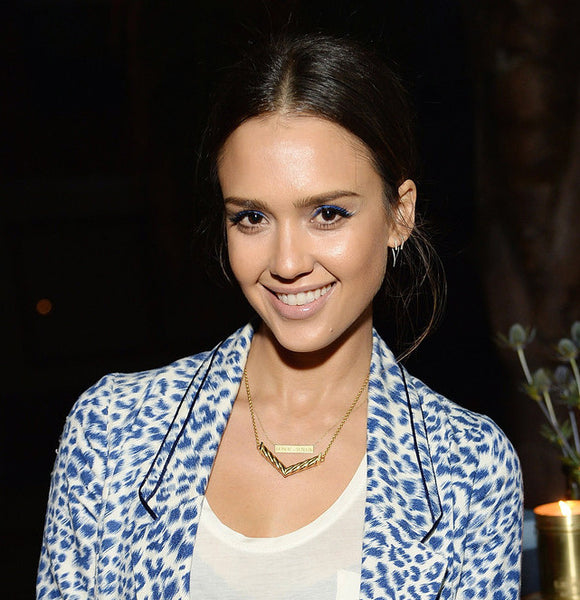 Jessica Alba Gold Necklace