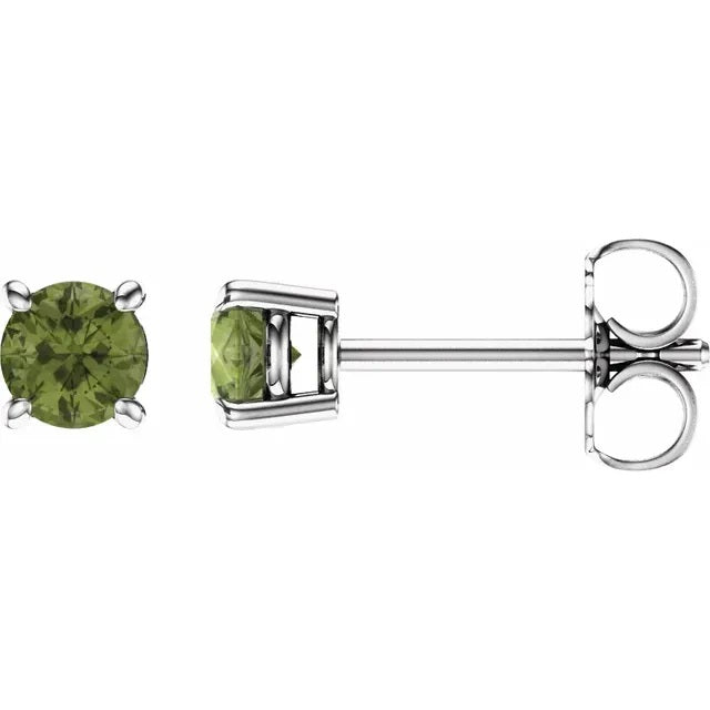 Peridot Earrings - 4mm Round