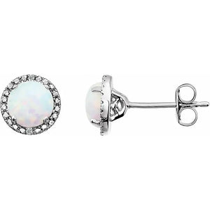 Opal Created Earrings - Round Halo