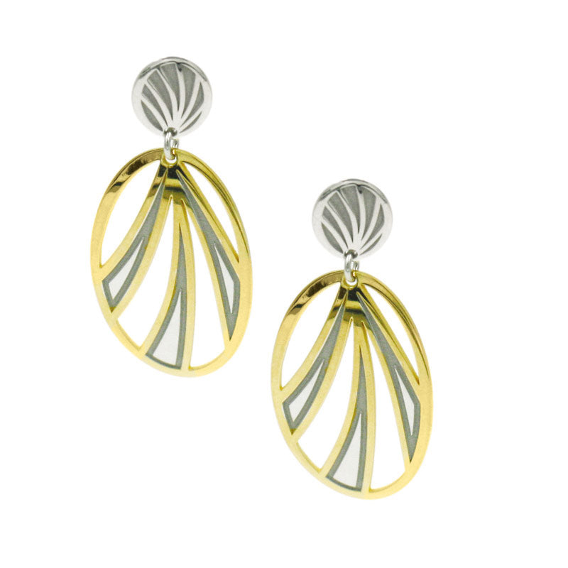 Silver and Yellow Gold Plated Tropics Earrings
