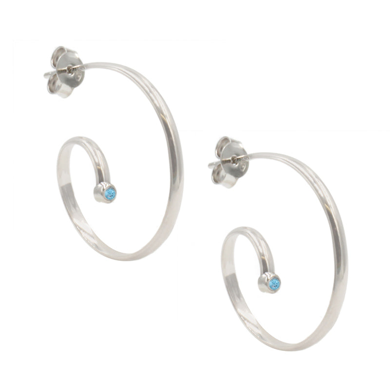 Silver and Blue Topaz Swirly Hoops