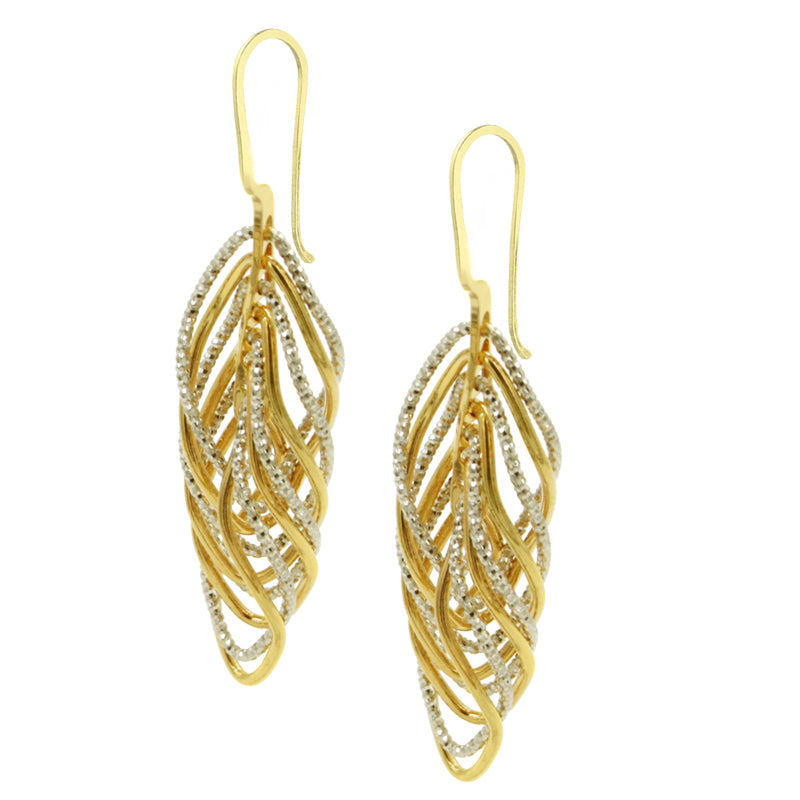 Silver and Yellow Gold Plated Vortex Earrings