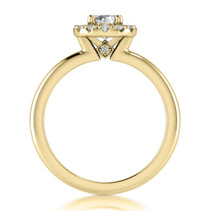Halo Engagement Ring Semi-mount for Oval Cut Diamond