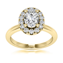 Load image into Gallery viewer, Halo Engagement Ring Semi-mount for Oval Cut Diamond
