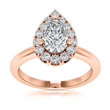 Load image into Gallery viewer, Halo Engagement Ring Semi-mount for Pear Diamond