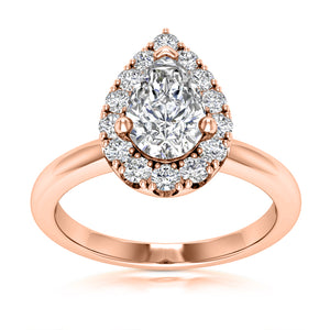Halo Engagement Ring Semi-mount for Pear Diamond