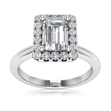 Load image into Gallery viewer, Halo Engagement Ring Semi-mount for Emearld Cut Diamond