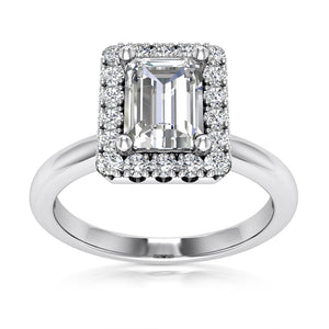 Halo Engagement Ring Semi-mount for Emearld Cut Diamond
