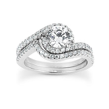 Load image into Gallery viewer, Swirl Shared Prong Engagement Semi-mount Set