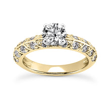Load image into Gallery viewer, Leaf Style Shared Prong Engagement Ring Semi-mount Set