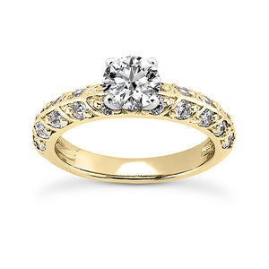 Leaf Style Shared Prong Engagement Ring Semi-mount Set
