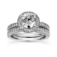 Load image into Gallery viewer, Millgrain Halo, Side Diamonds Engagement Ring Semi-mount Set