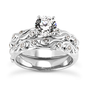 Wave Engagement Ring Semi-mount Set
