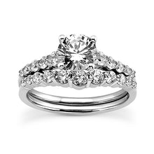 Load image into Gallery viewer, Shared Prong Engagement Ring Semi-mount Set