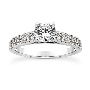 Double Shared Prong Engagement Ring Semi-mount Set