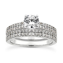 Load image into Gallery viewer, Double Shared Prong Engagement Ring Semi-mount Set