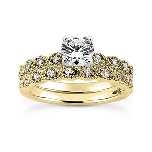 Millgrain Twist Engagement Ring Semi-mount Set