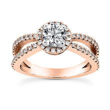 Load image into Gallery viewer, Split Shank Halo Engagement Ring Semi-mount Set