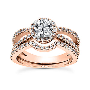 Split Shank Halo Engagement Ring Semi-mount Set