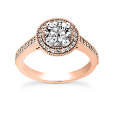Load image into Gallery viewer, Millgrain Halo Engagement Ring Semi-mount Set