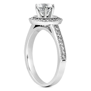 Millgrain Halo Engagement Ring Semi-mount Set