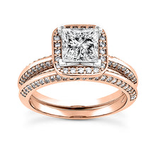 Load image into Gallery viewer, Square Halo Engagement Ring Semi-mount Set