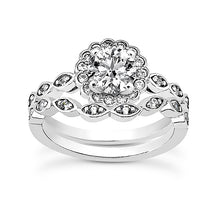 Load image into Gallery viewer, Twist Halo Engagement Ring Semi-mount Set