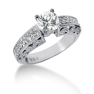 Filagree Style Shared Prong Engagement Ring Semi-mount Set
