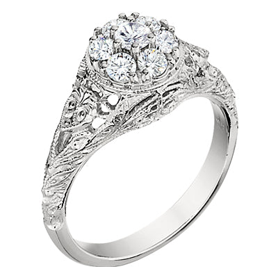 Filigree Engraved Diamond Cluster Ring