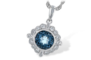 Art Deco Style Blue Topaz and Diamond Necklace