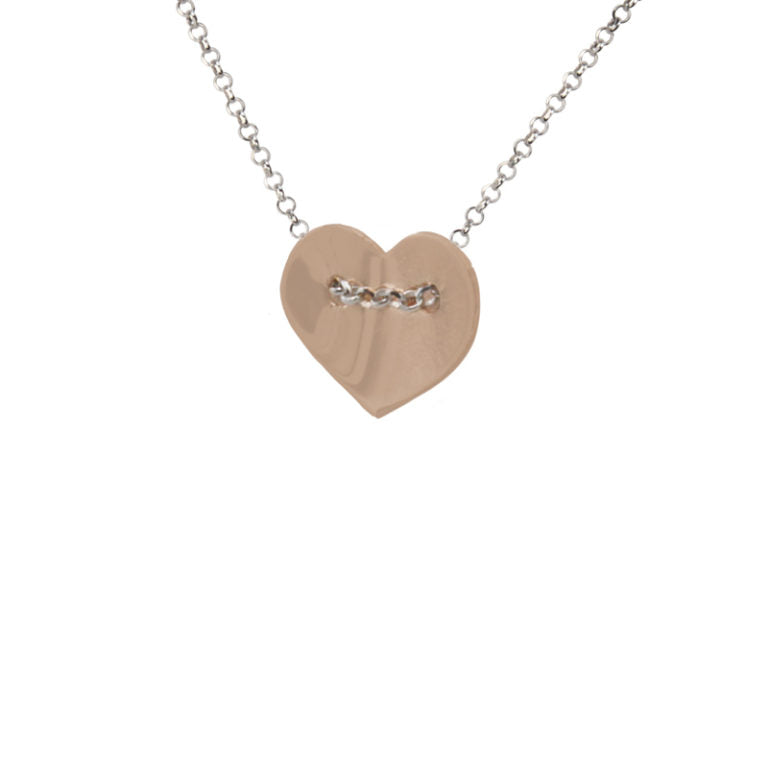Silver and Rose Gold Plate Heart Necklace