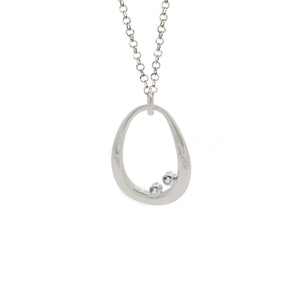 Silver and Blue Topaz Trixie Neckalce