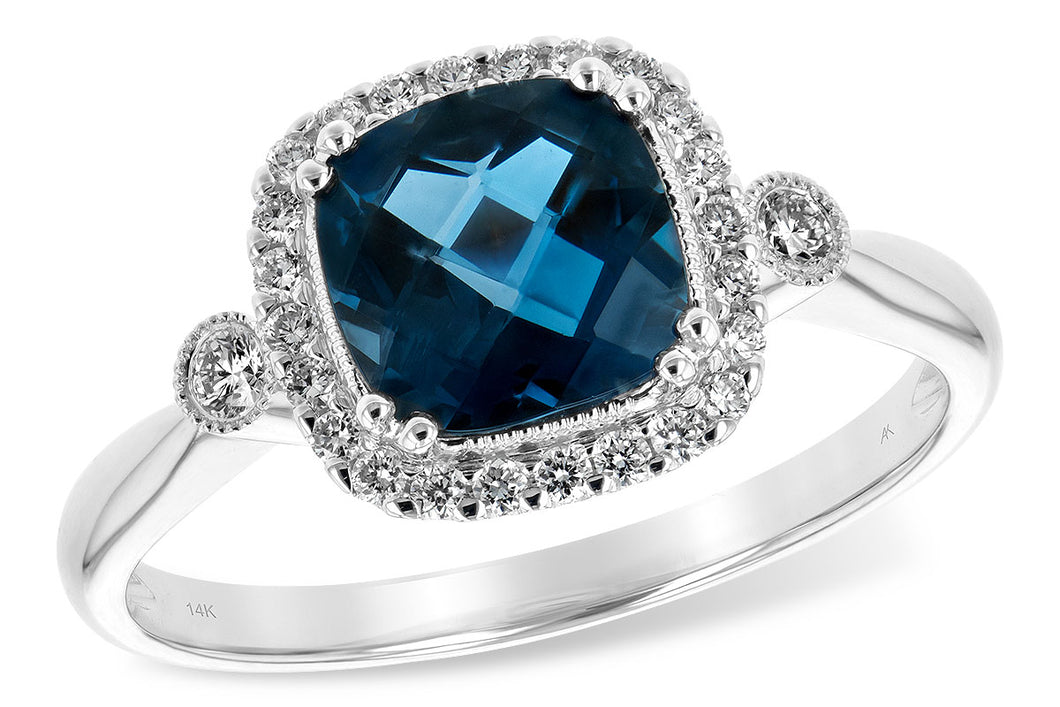 London Blue Topaz Ring Cushion Cut